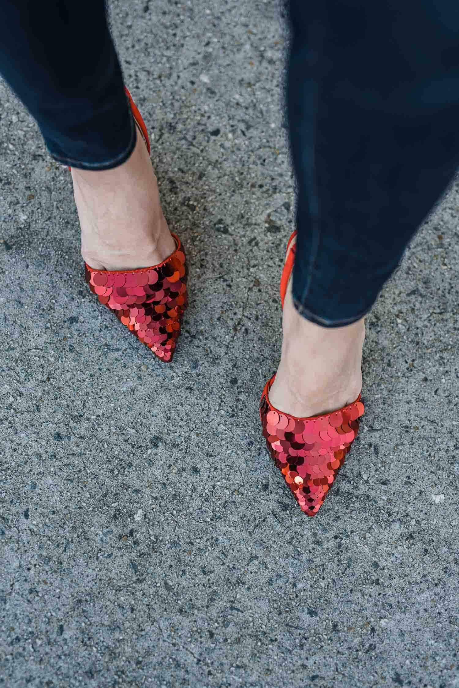 Red Sequined Shoes