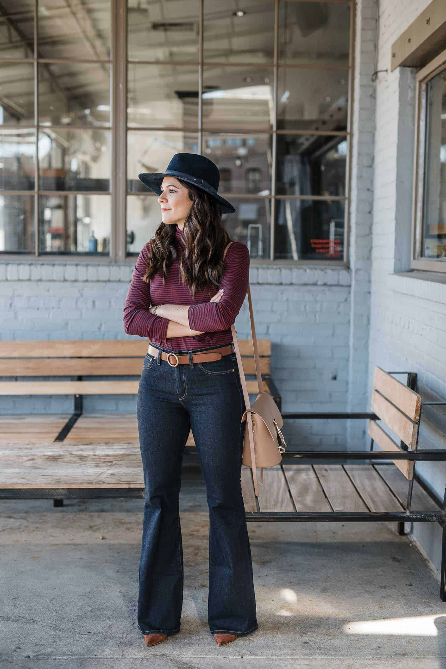 My Style Vita Outfit Details: Striped Madewell Turtleneck, Wide Leg Jeans, Steve Madden Heels, Rag & Bone Hat