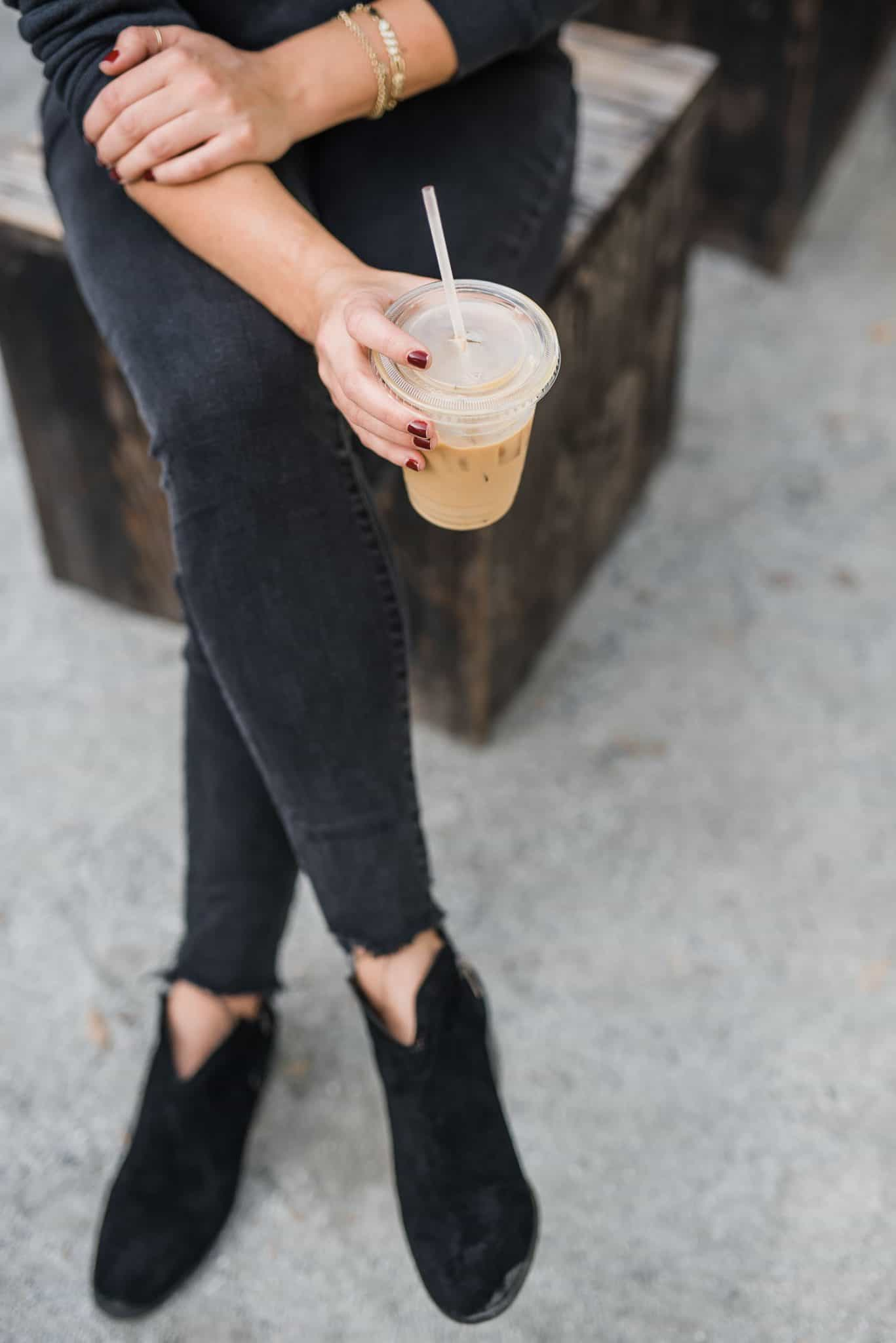 Vince Camuto Suede Exposed Ankle Booties, jeans and iced coffee