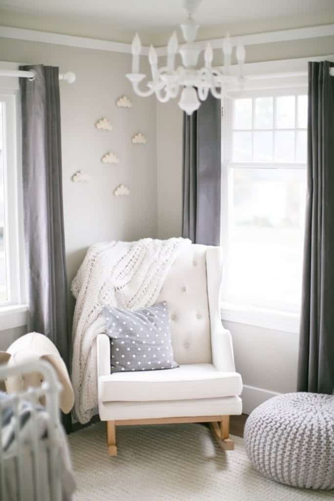 white and gray nursery room.