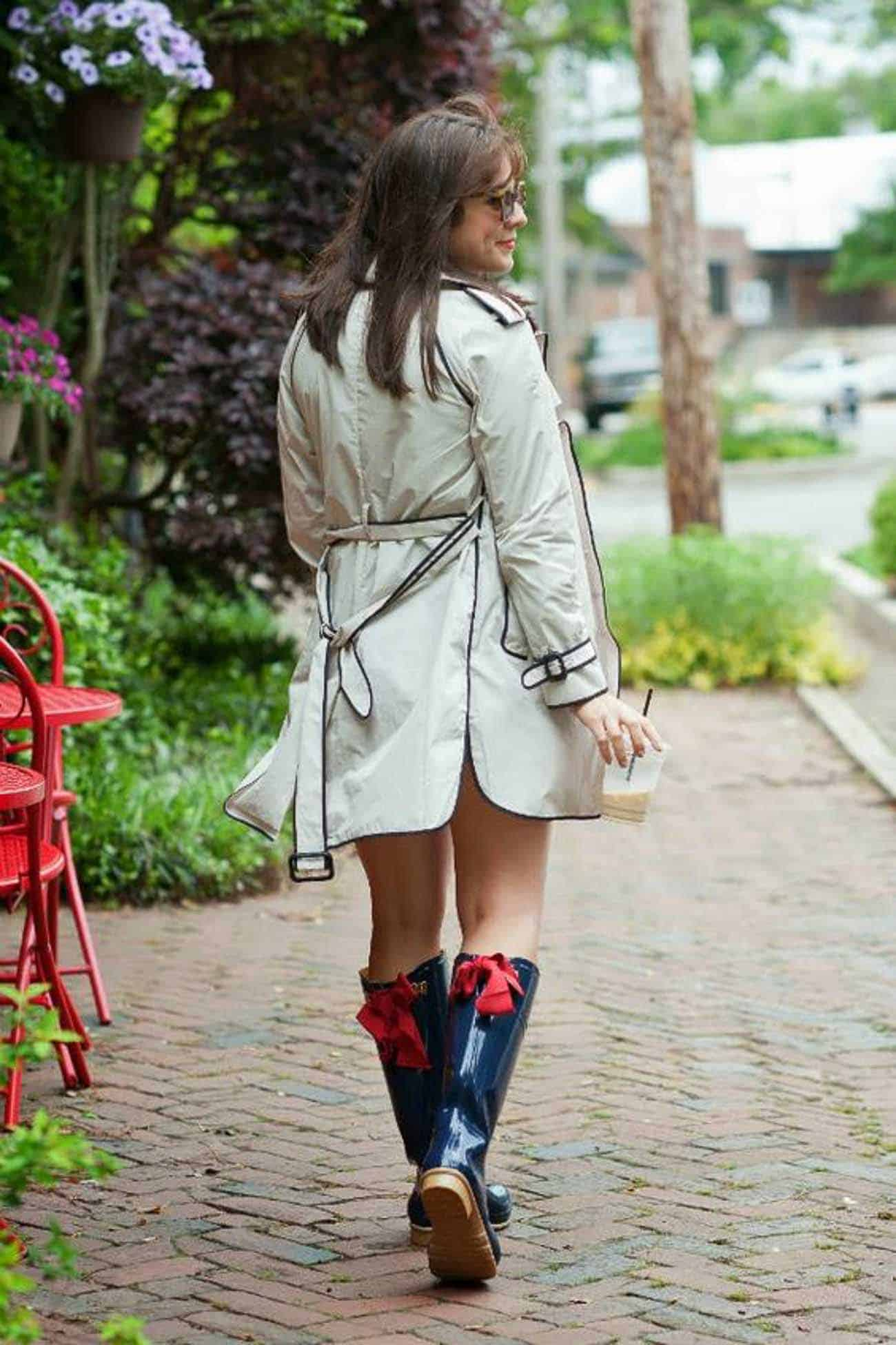 trench coat with rain boots