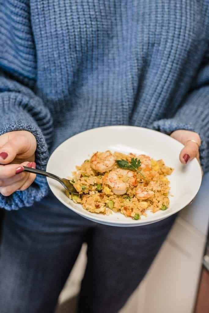 My Go To 10 Minute Shrimp Fried Rice Dinner Recipe by Jessica Camerata