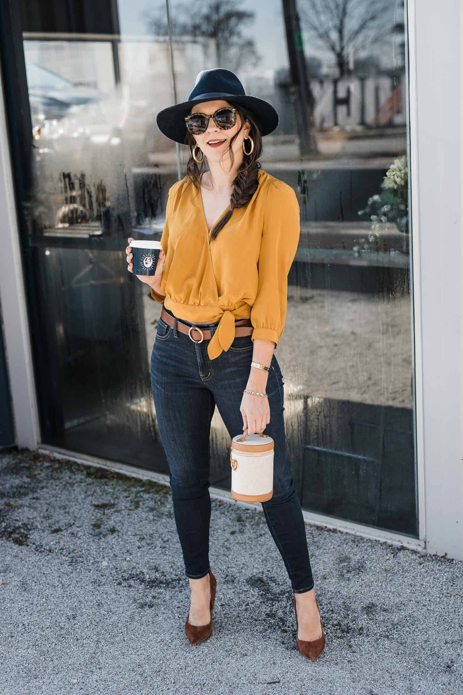 Mustard and Navy Outfit Ideas by Jessica Camerata