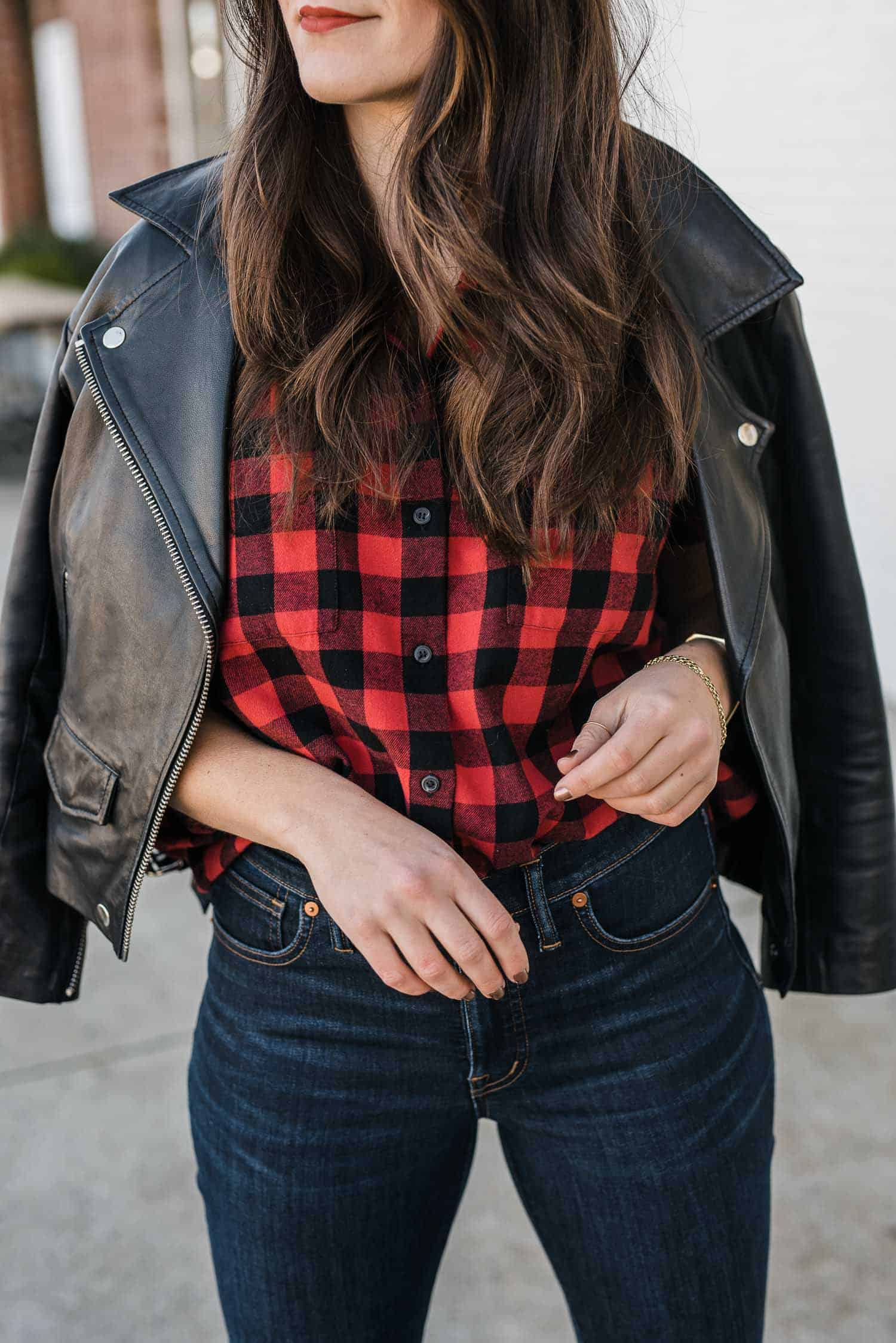MY STYLE VITA OUTFIT DETAILS: MADEWELL PLAID SHIRT, LEATHER JACKET,  MADEWELL JEANS
