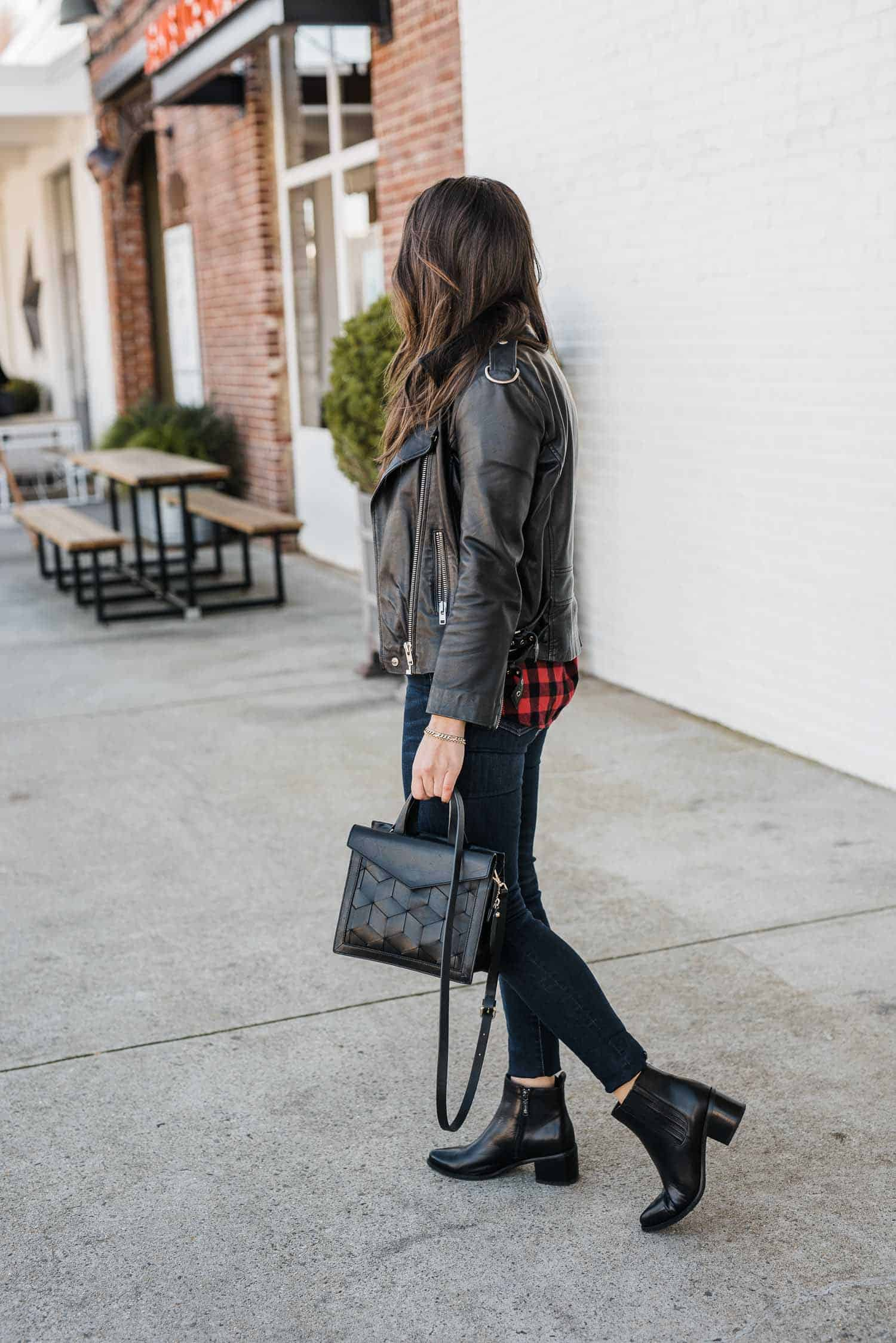 JESSICA CAMERATA OUTFIT DETAILS: MADEWELL PLAID SHIRT, LEATHER JACKET,  MADEWELL JEANS, BLONDO BOOTIES AND WELDEN BAG