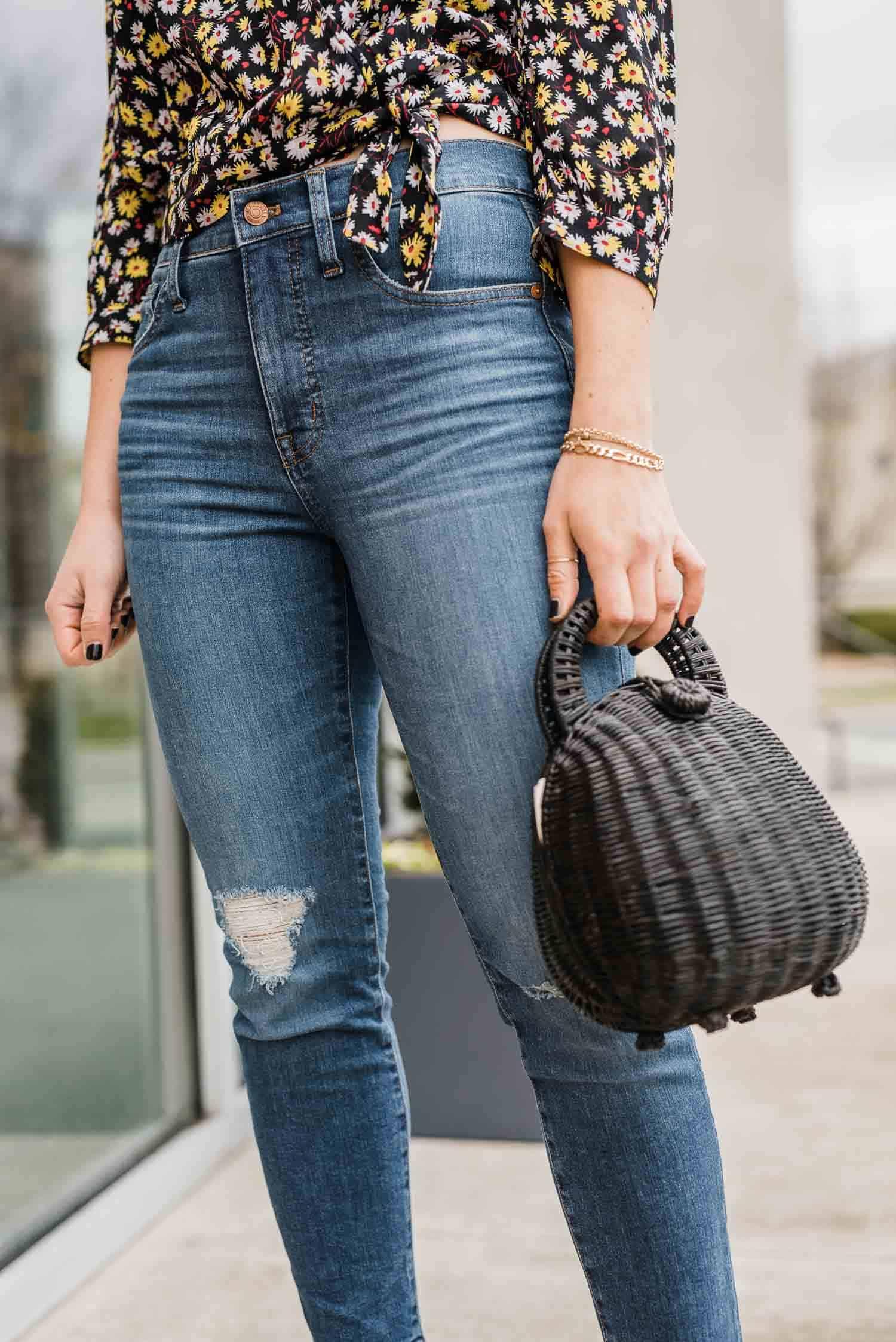 My Style Vita is featuring a black Cult Gaia Millie Rattan Bag.