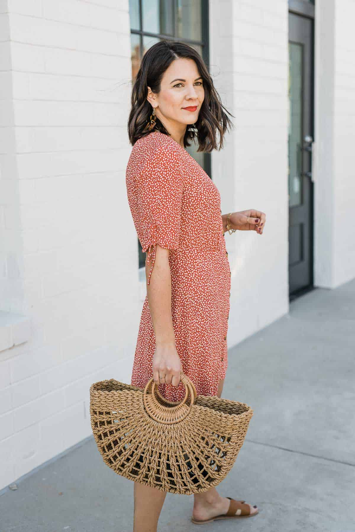 Straw Bag & A Red Summer Dress Outfit