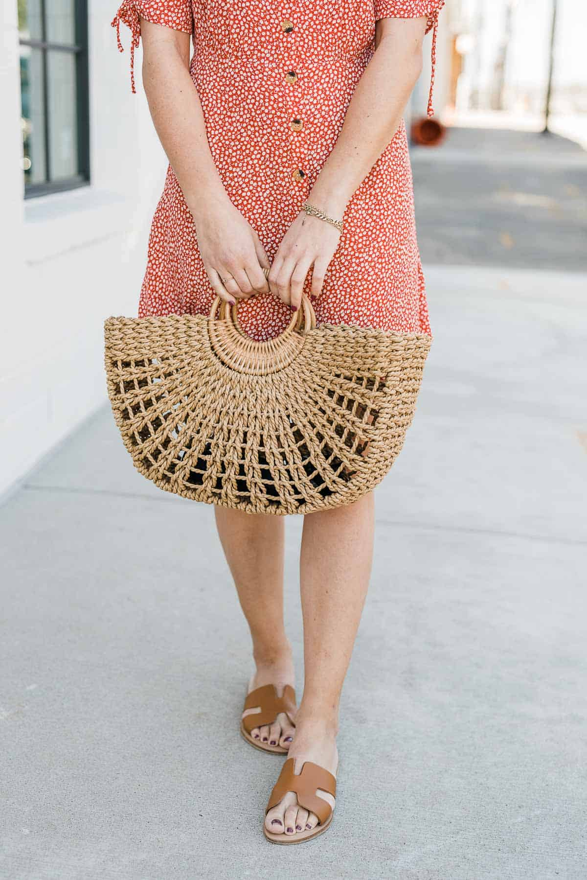 My Style Vita's outfit details: casual summer printed dress, Greece Sandals and straw bag.
