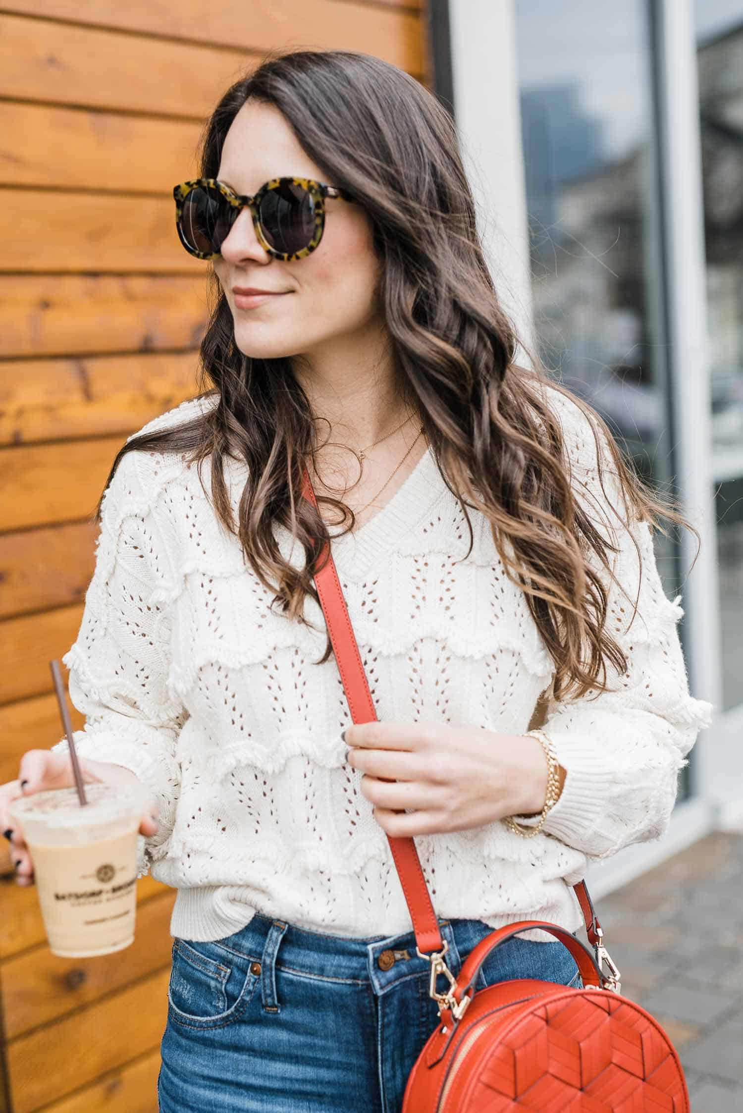 lightweight cream spring sweater outfit ideas