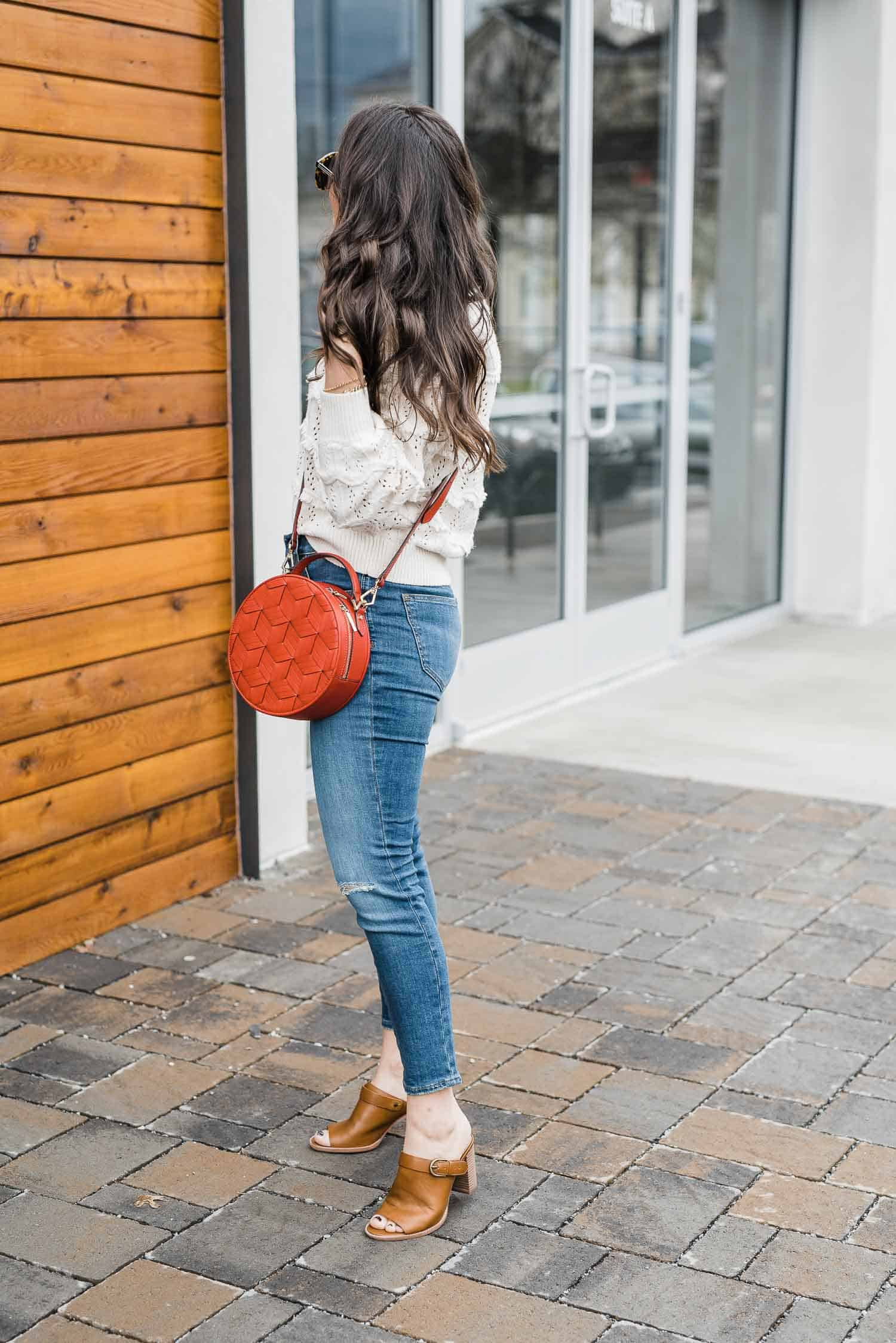 My Style vita spring outfit with cream fringe sweater