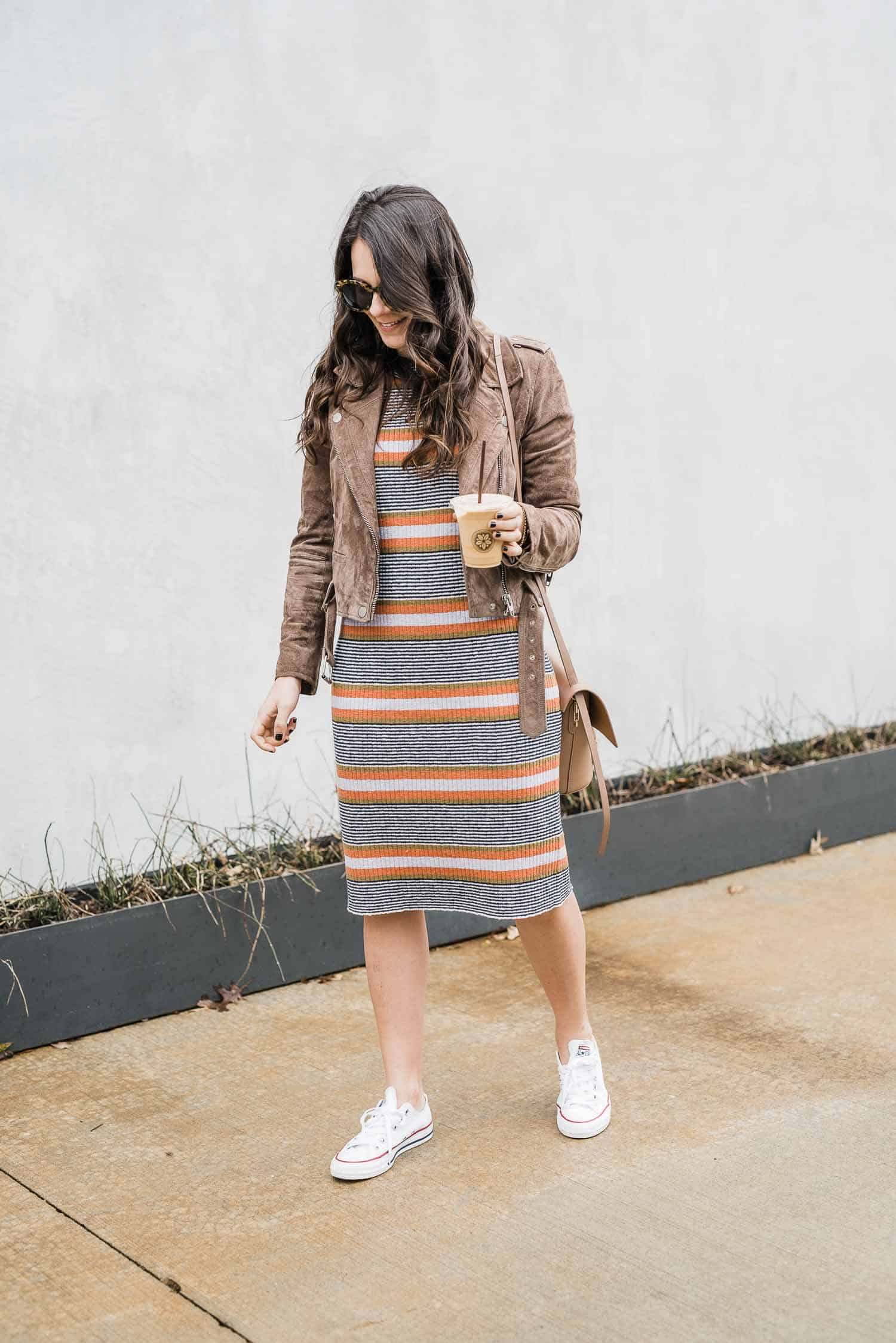 spring sweater dress, jacket and converse outfit