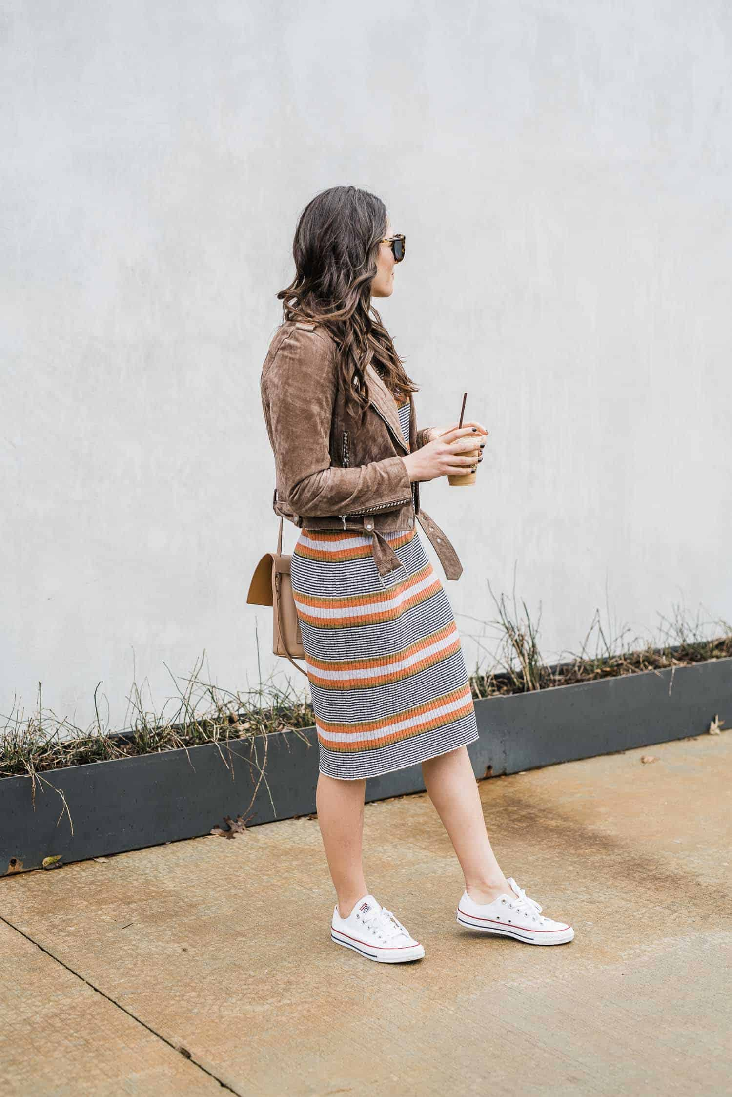 casual spring transition outfits with a spring sweater dress