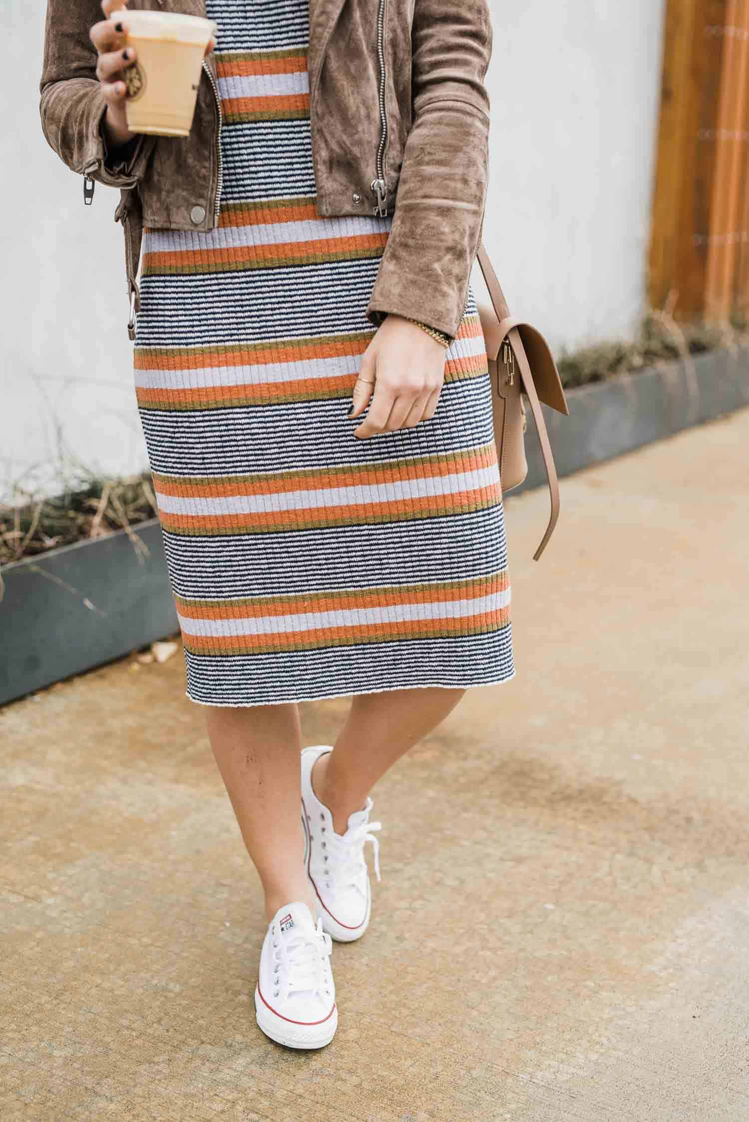 converse with a midi spring sweater dress