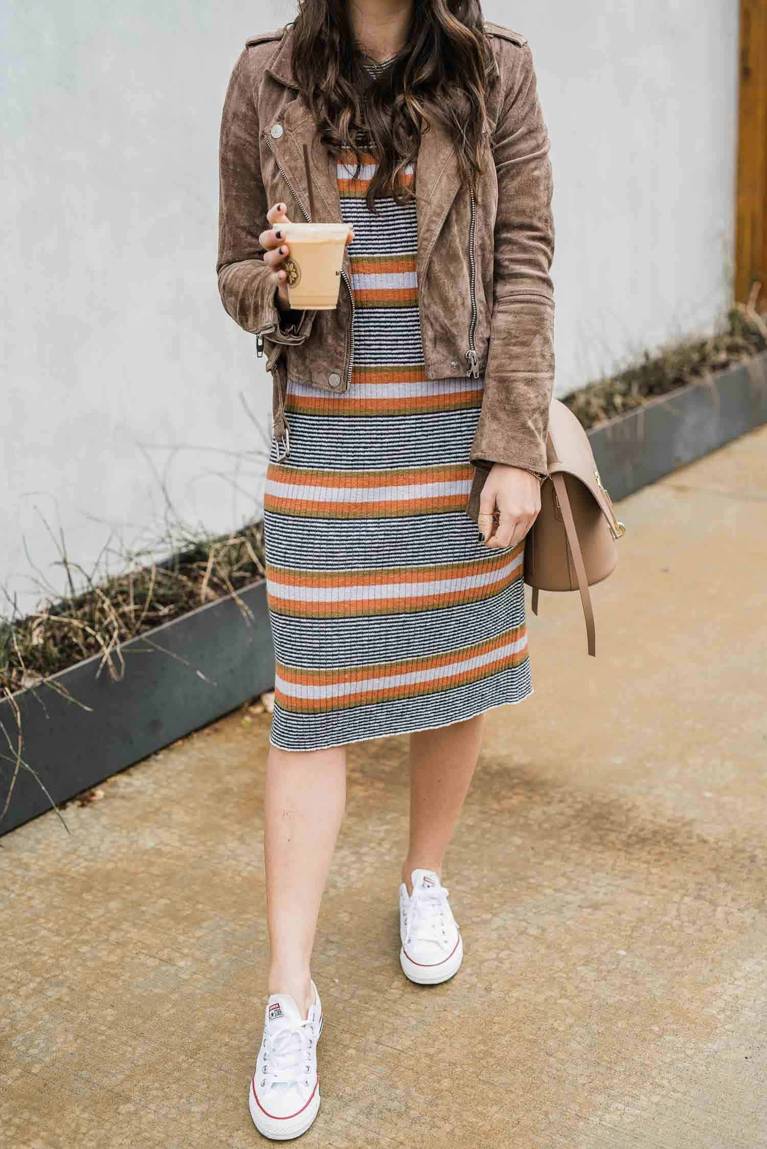 Madewell Striped Sweater Dress, Moto Jacket, Converse
