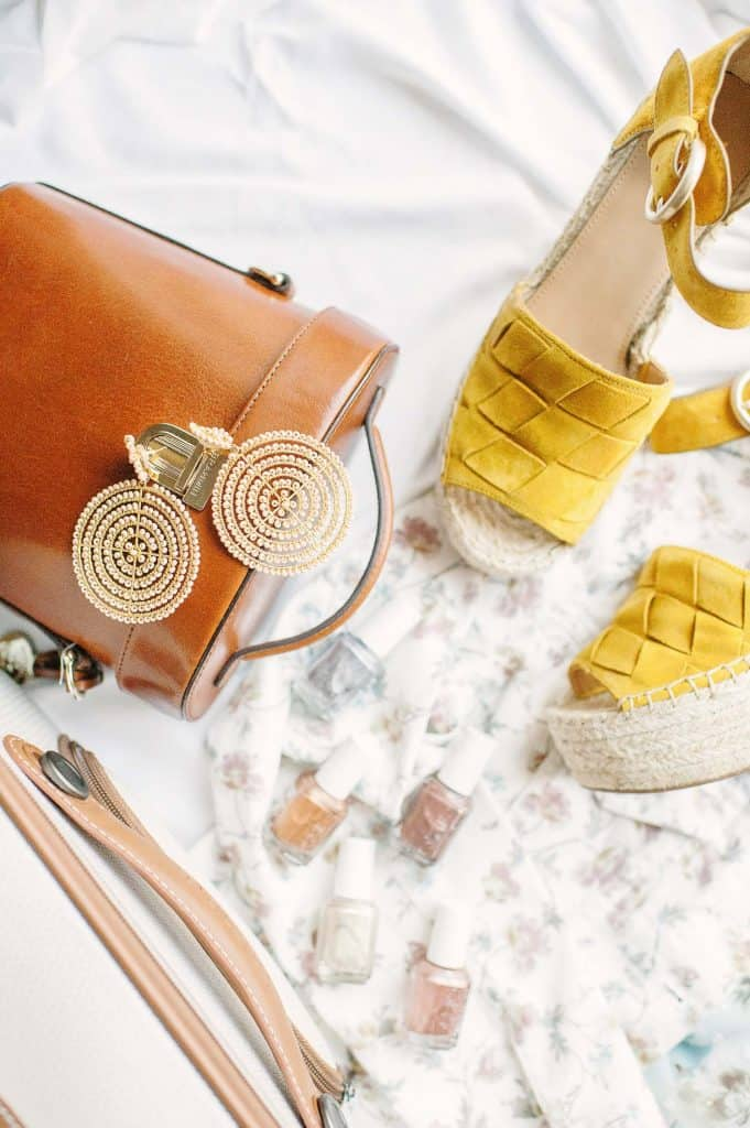 MARC FISHER LTD Adalla Espadrille Wedge Sandal - Yellow Suede, Lisi Lerch Earrings, CeCe Sportswear Piece, 5 Essie Treat Love & Color Polishes