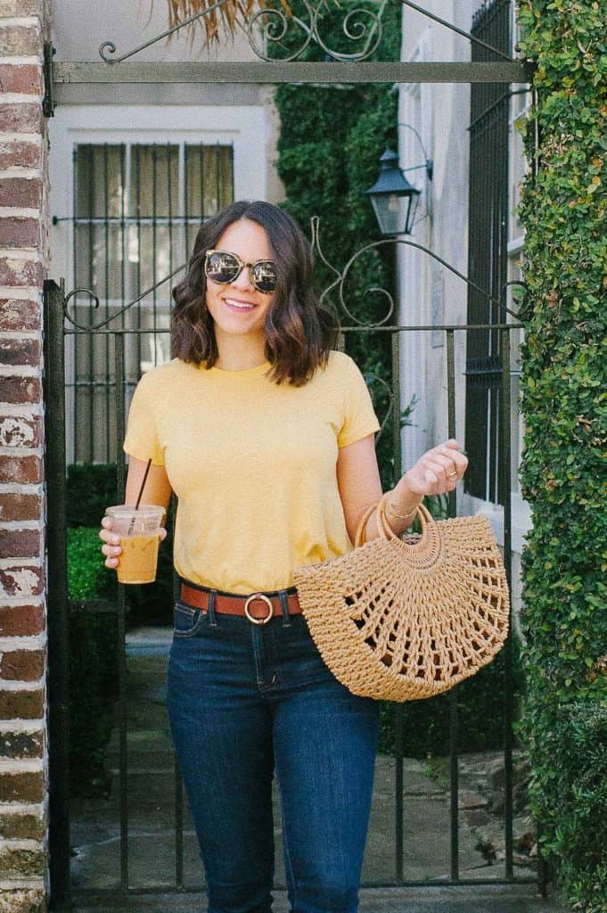 My Style Vita look: yellow tee, jeans and weave bag