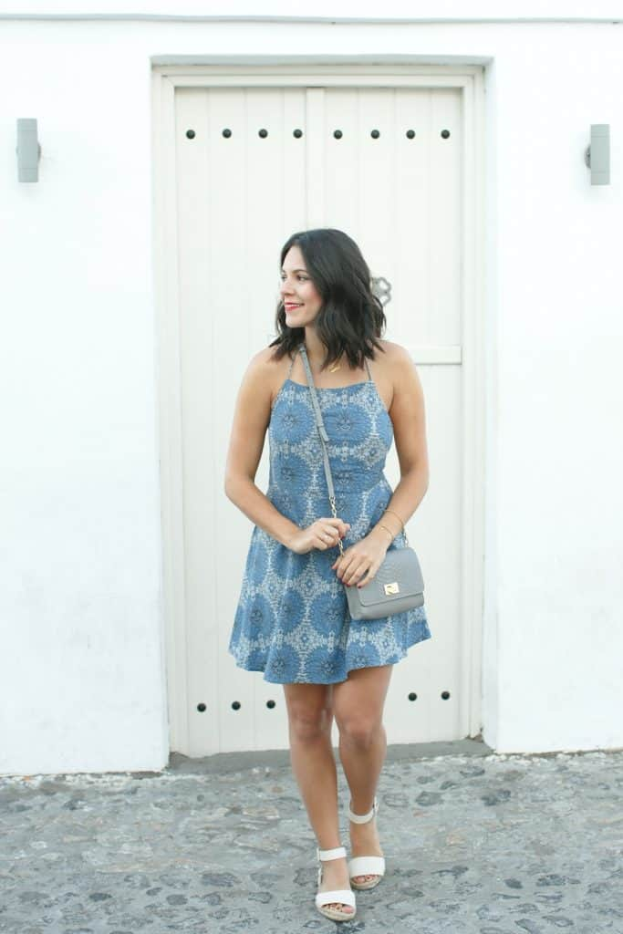 Revolve blue dress outfit