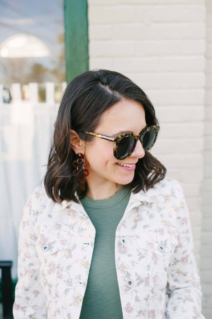 CeCe floral print denim jacket and green tee