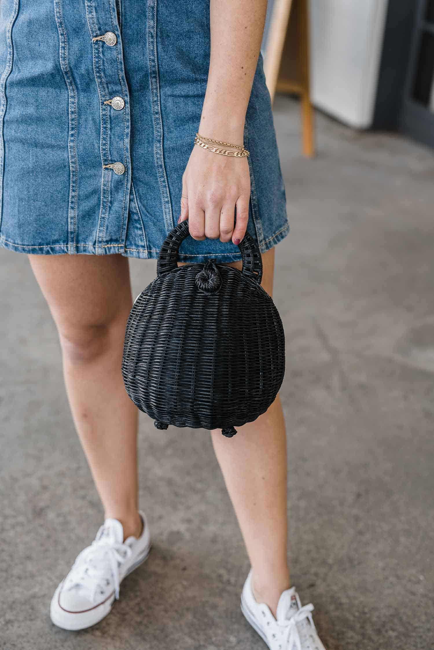 black cult gaia rattan bag