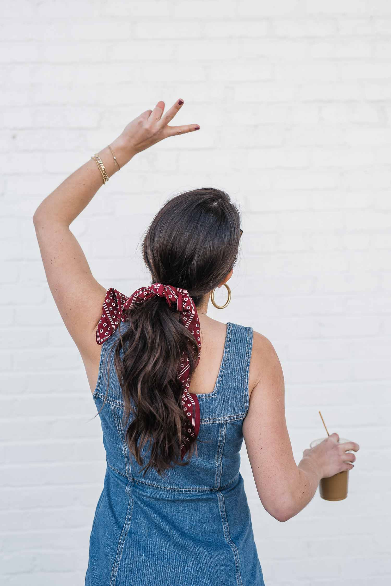 long ponytail with bandana, peace sign with ponytail