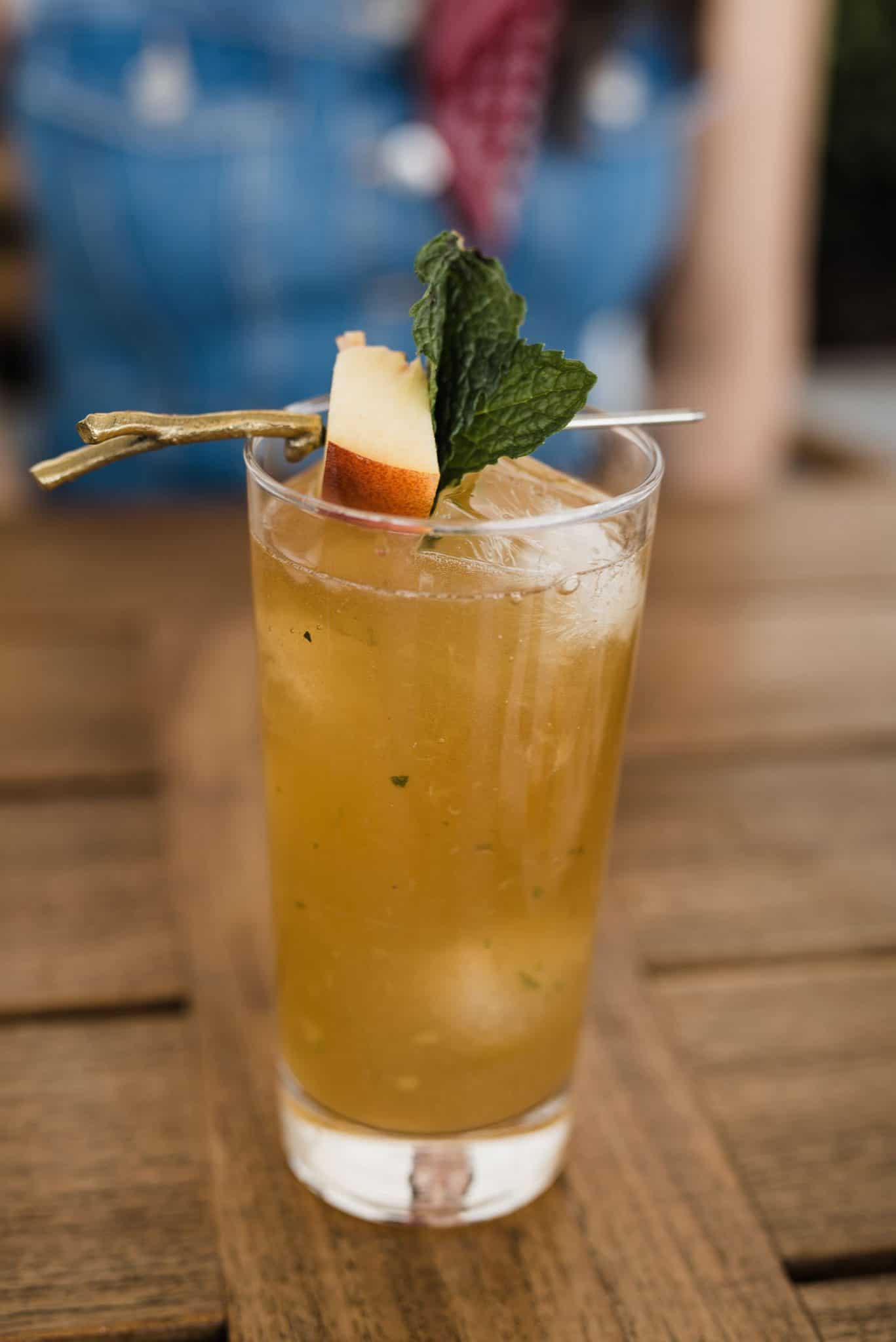 A Peach Mint Smash Cocktail with Coopers' Craft Bourbon