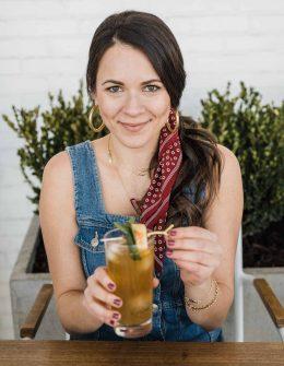 Peach Mint Bourbon Smash Cocktail