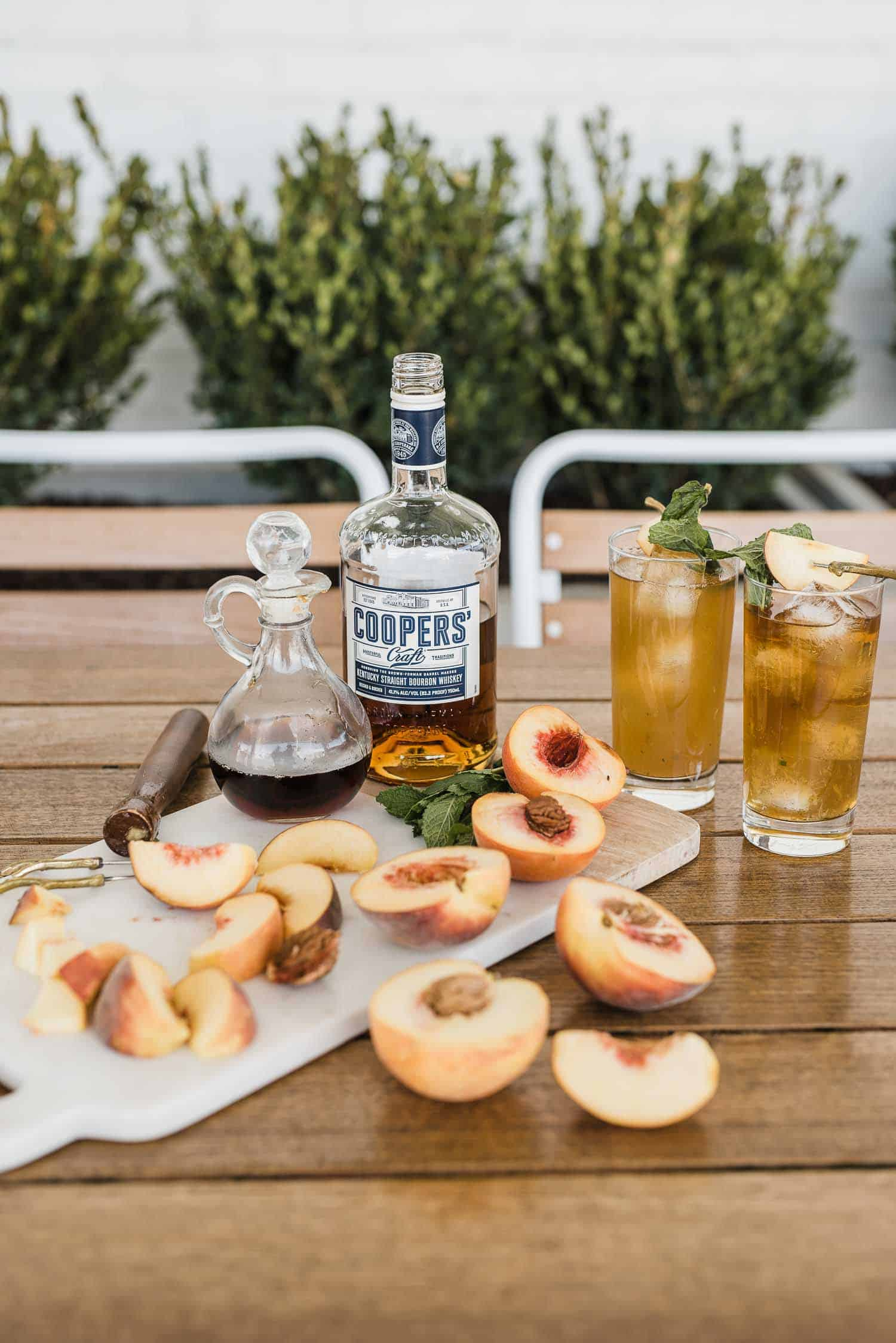 A Peach Mint Smash Cocktail Recipe With Coopers' Craft Bourbon