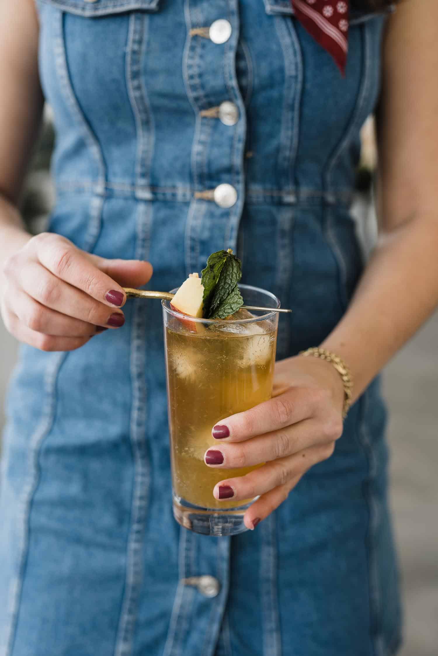 peach mint smash with bourbon cocktail