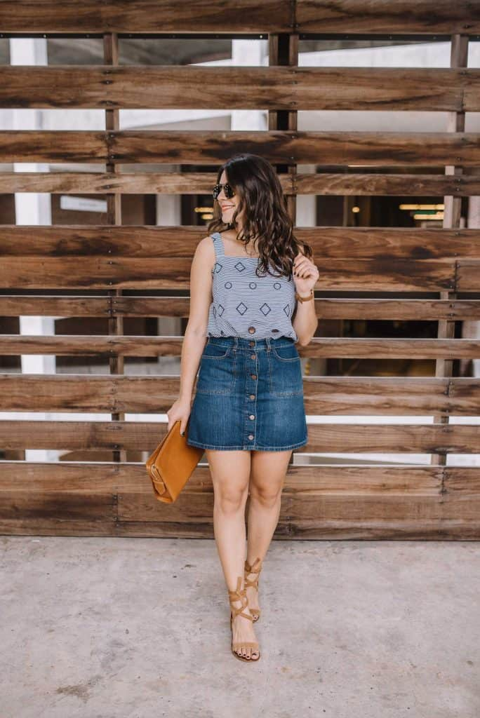 Blue top and denim skirt look