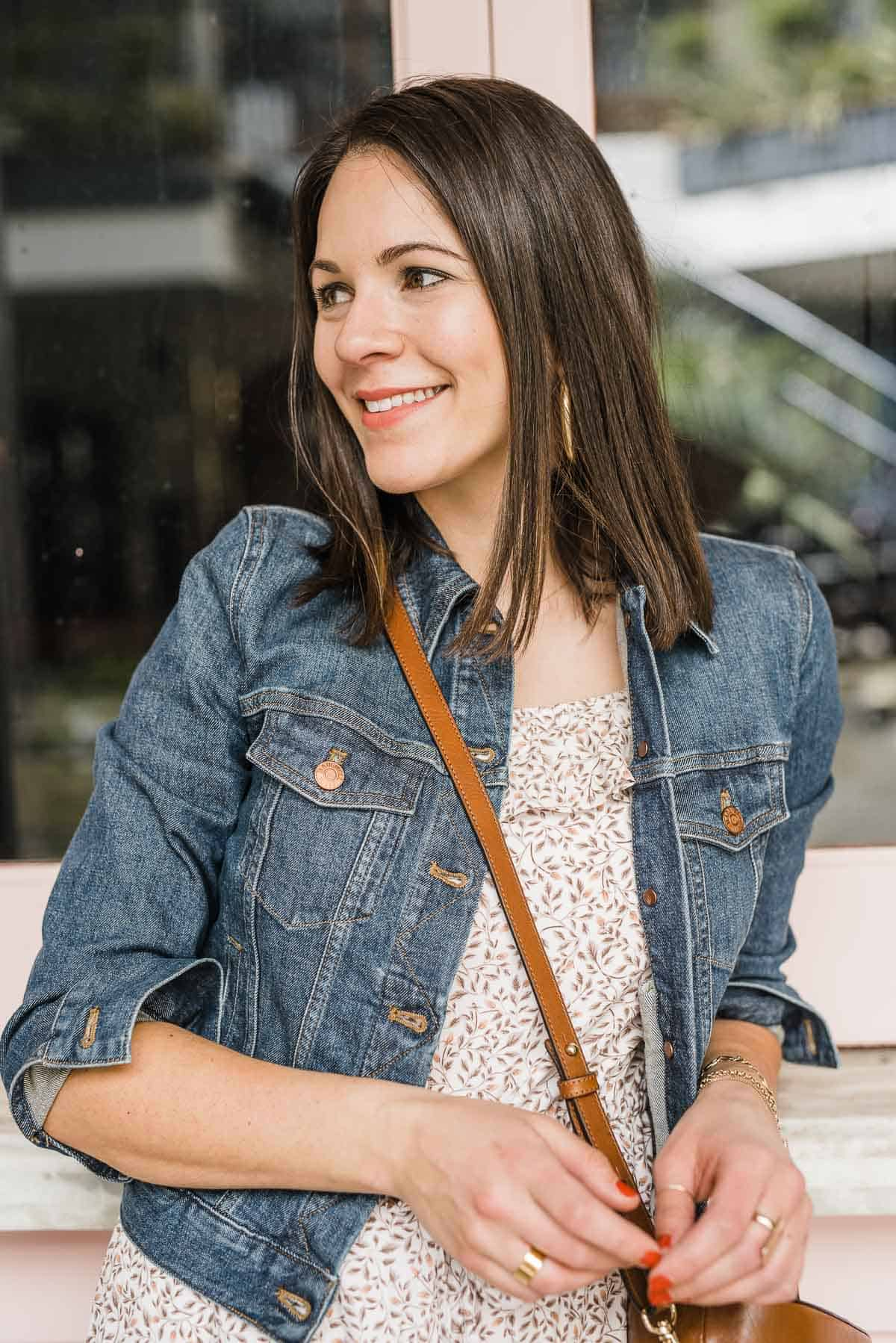 JESSICA CAMERATA IS WEARING A MADEWELL DENIM JACKET