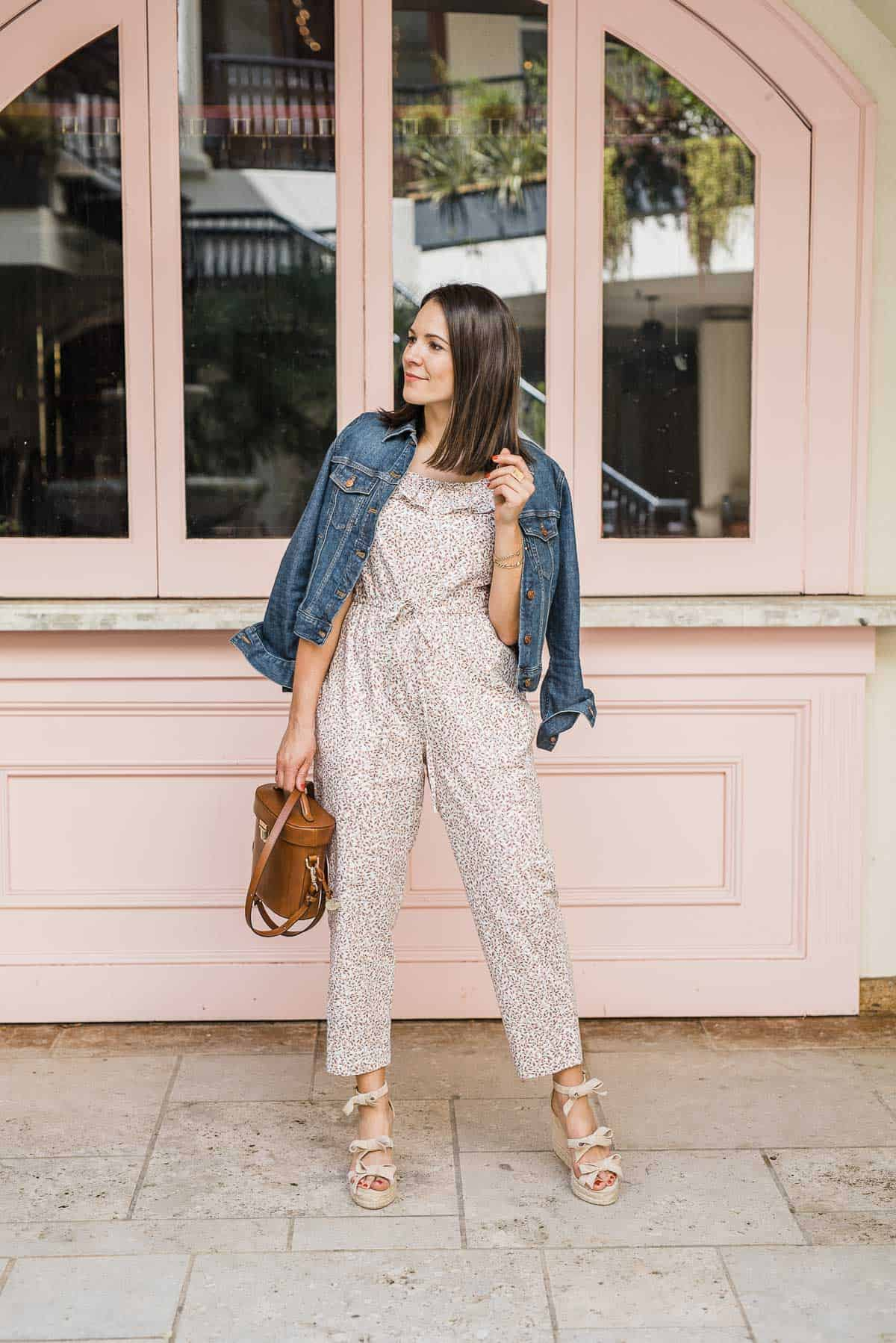 "MY STYLE VITA""S OUTFIT DETAILS: GAL MEETS GLAM COLLECTION 'RUE' JUMPSUIT • CASTANER WEDGES • BRAHMIN BAG • MADEWELL DENIM JACKET"