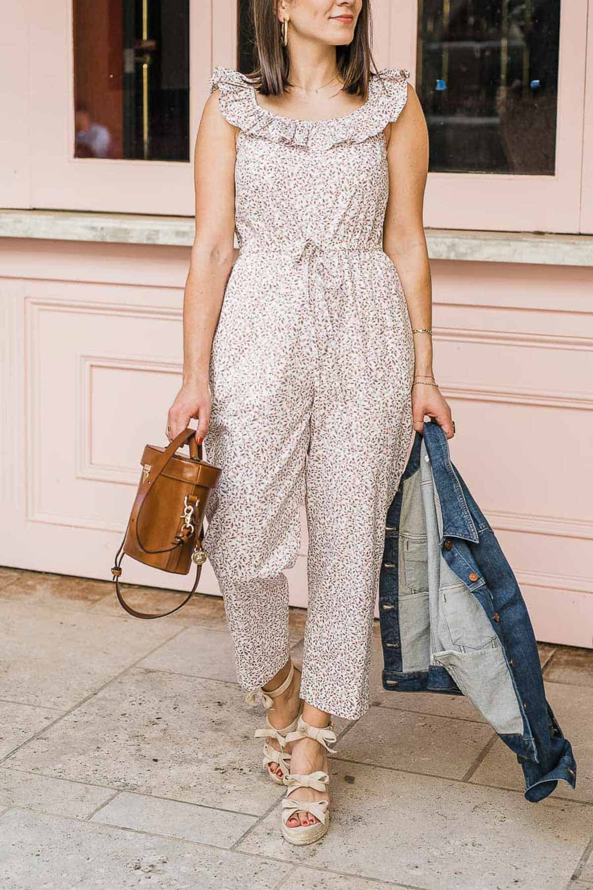 """MY STYLE VITA""""S OUTFIT DETAILS: GAL MEETS GLAM COLLECTION 'RUE' JUMPSUIT • CASTANER WEDGES • BRAHMIN BAG • MADEWELL DENIM JACKET"""