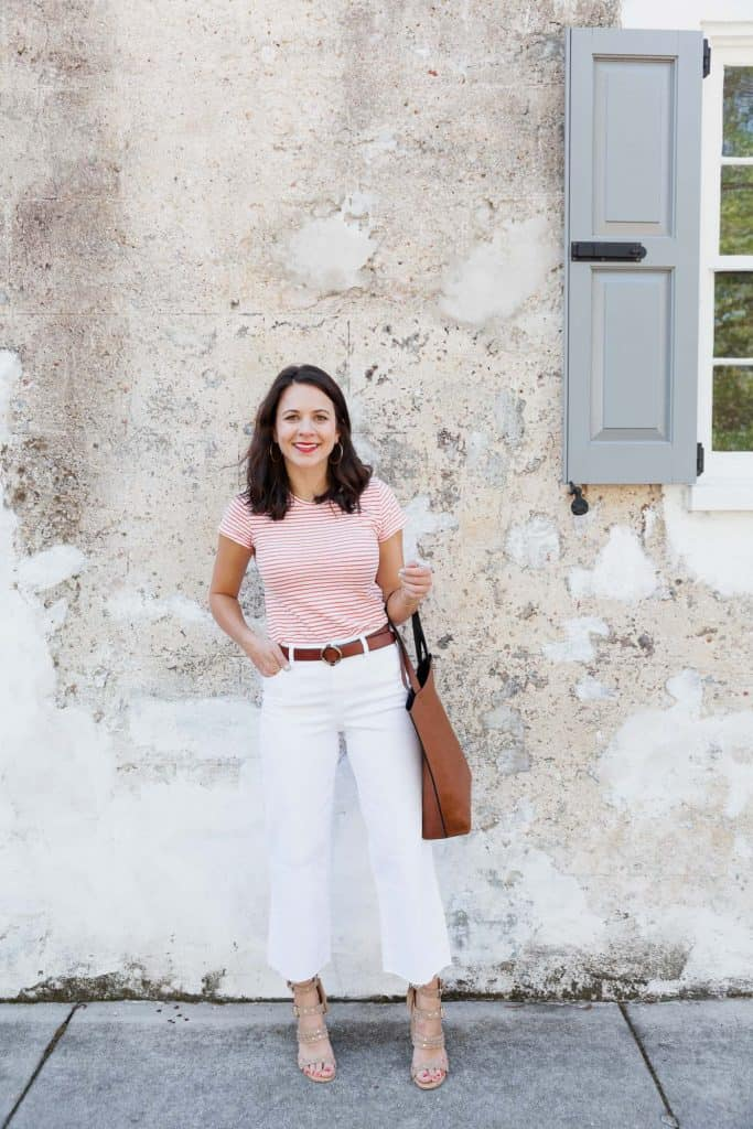 Pink Blouse and White Wide Leg Jeans Look