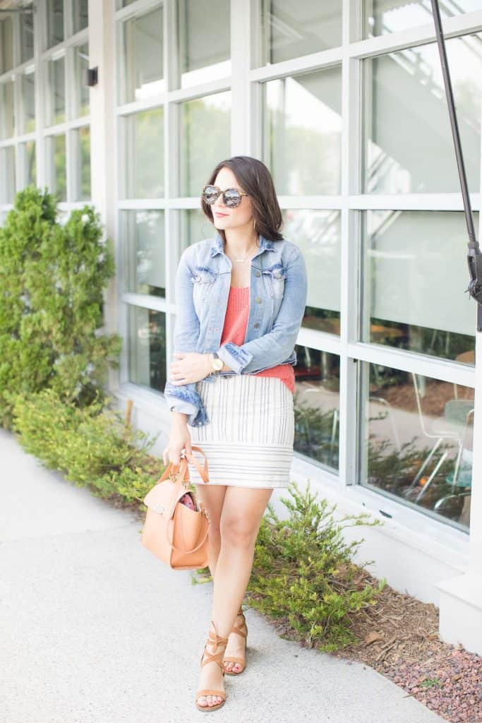 A fun spring look - skirt, tee and jacket