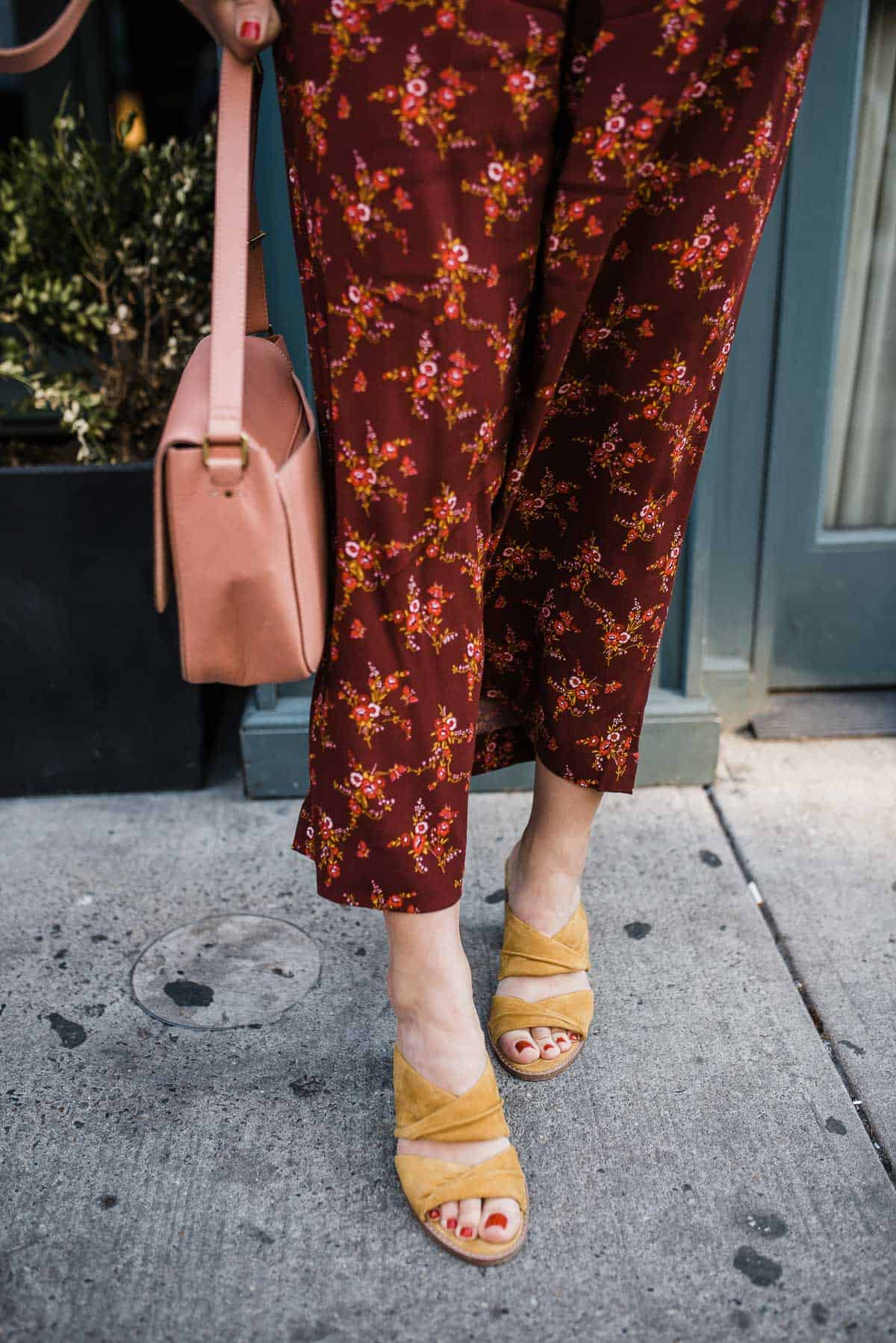 "MY STYLE VITA""S OUTFIT DETAILS: MADEWELL FLORAL JUMPSUIT, MADEWELL MUSTARD MULES, BLUSH HANDBAG"