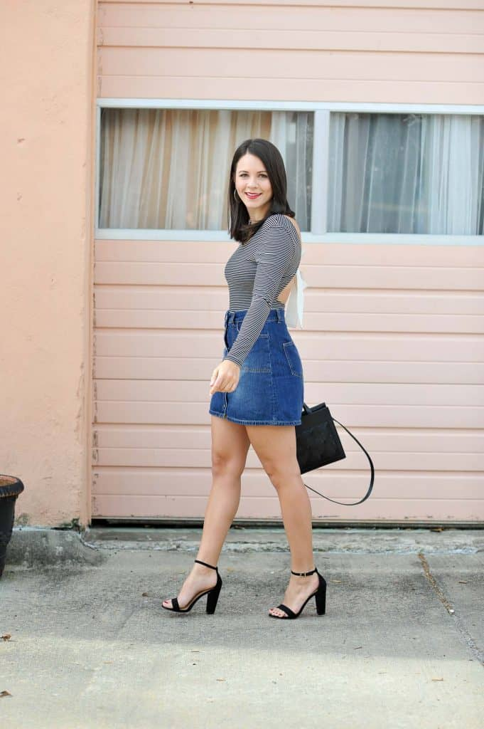 bodysuit and denim skirt look
