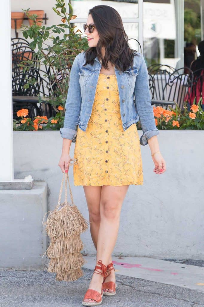 Yellow dress and denim jacket look