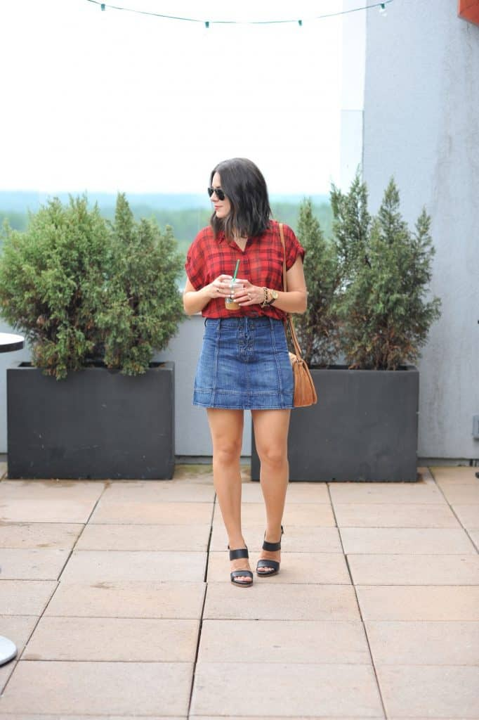 plaid top and denim skirt outfit