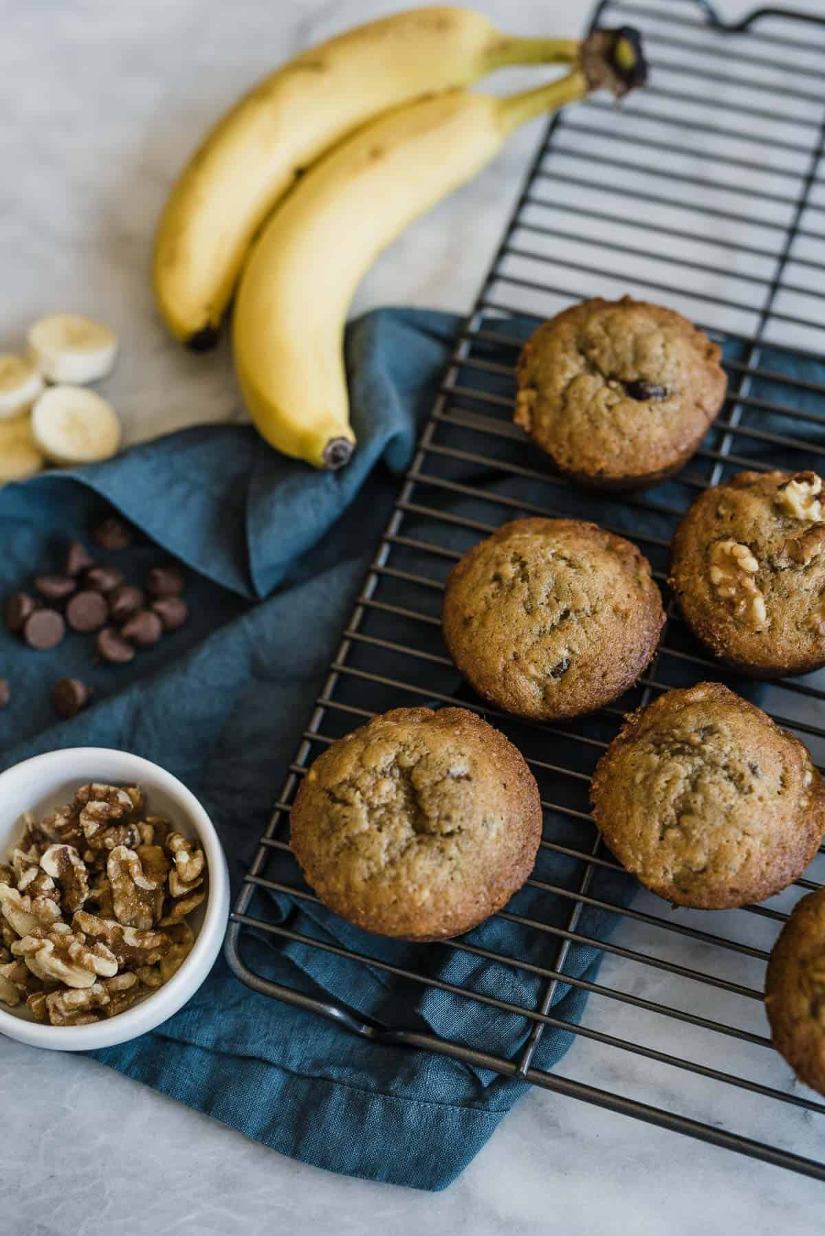 Banana Muffins With Walnuts And Chocolate Chips