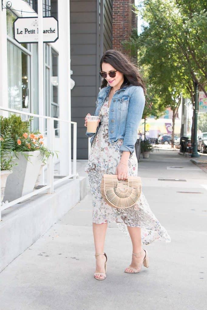 Denim jacket & A Floral Print Dress