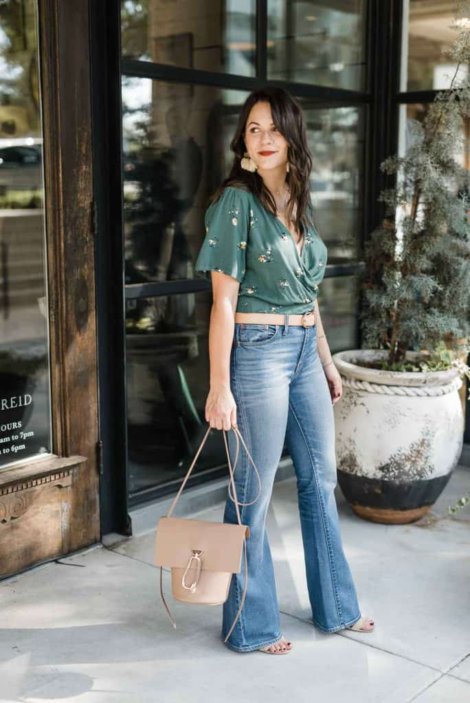 Green Wrap Blouse and Wide Leg Jeans Look