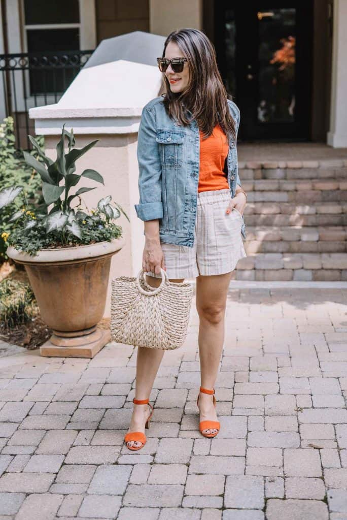 A fun spring look - shorts, tee and jacket