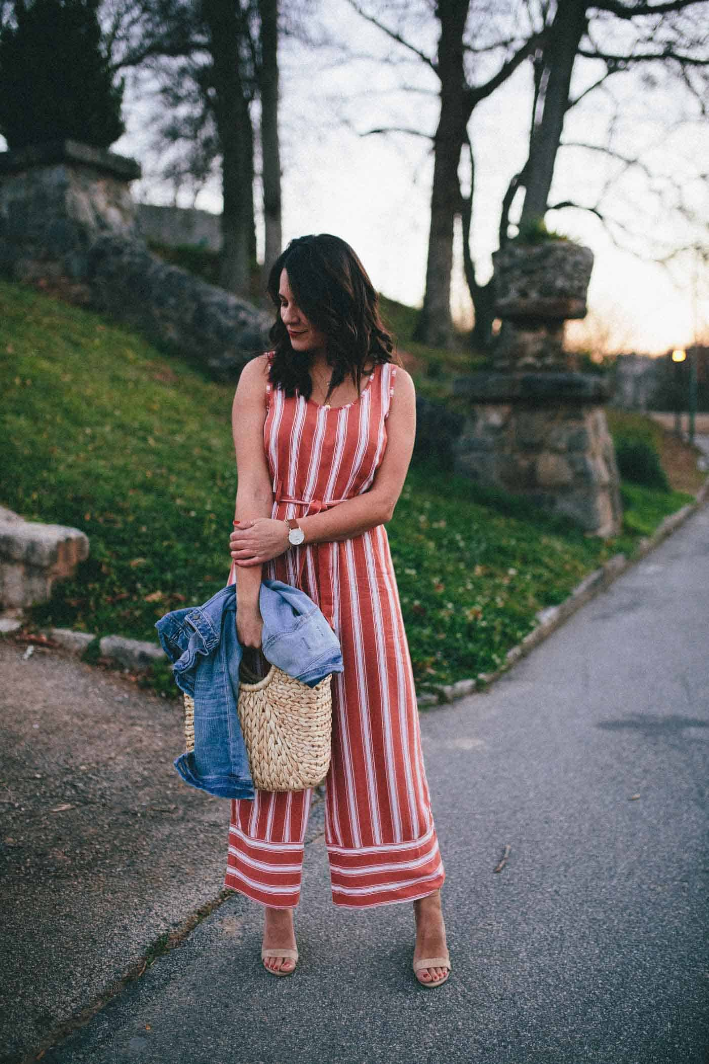 red and white striped jumpsuit look