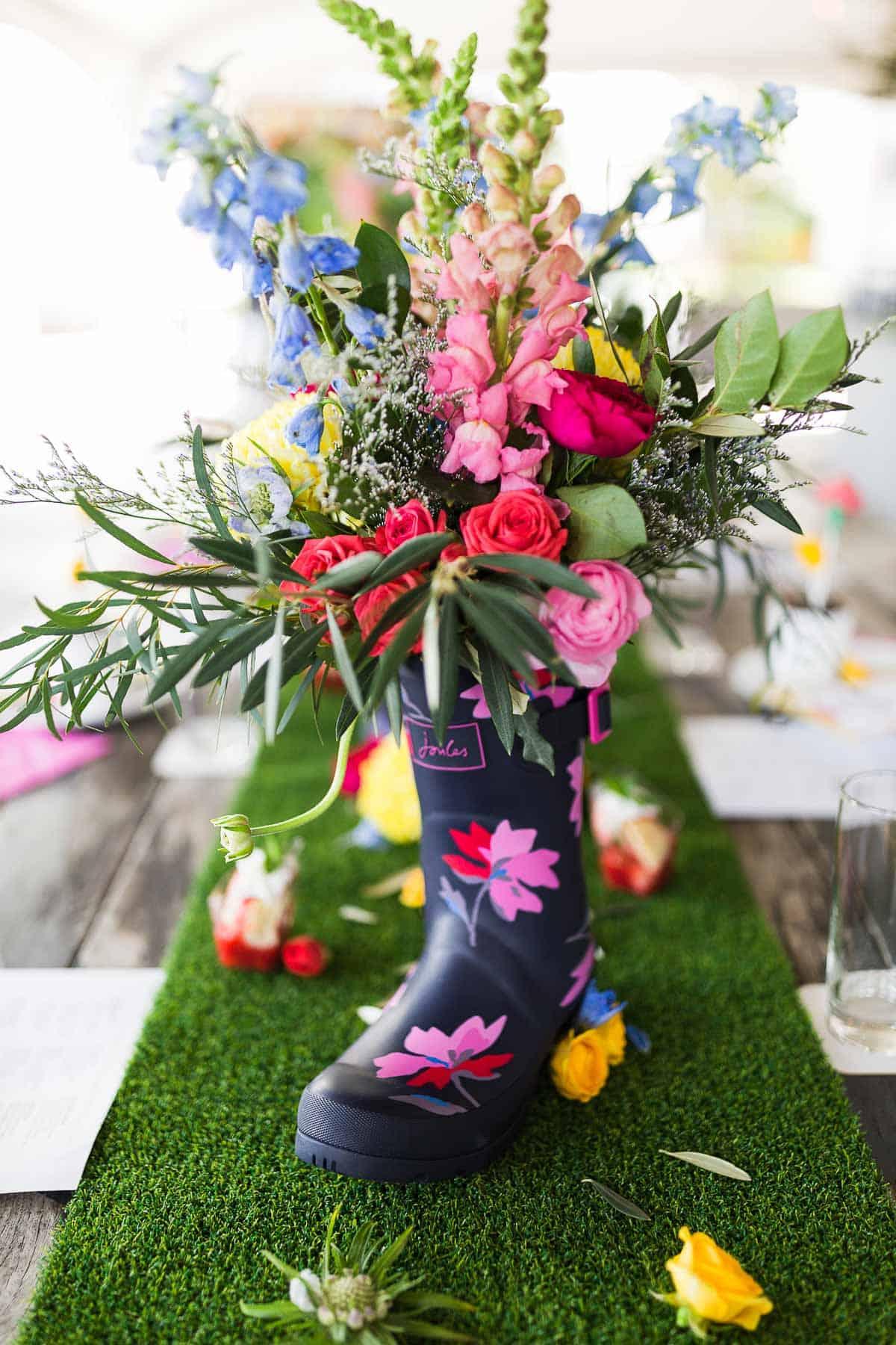 Rain boot and Flowers decor