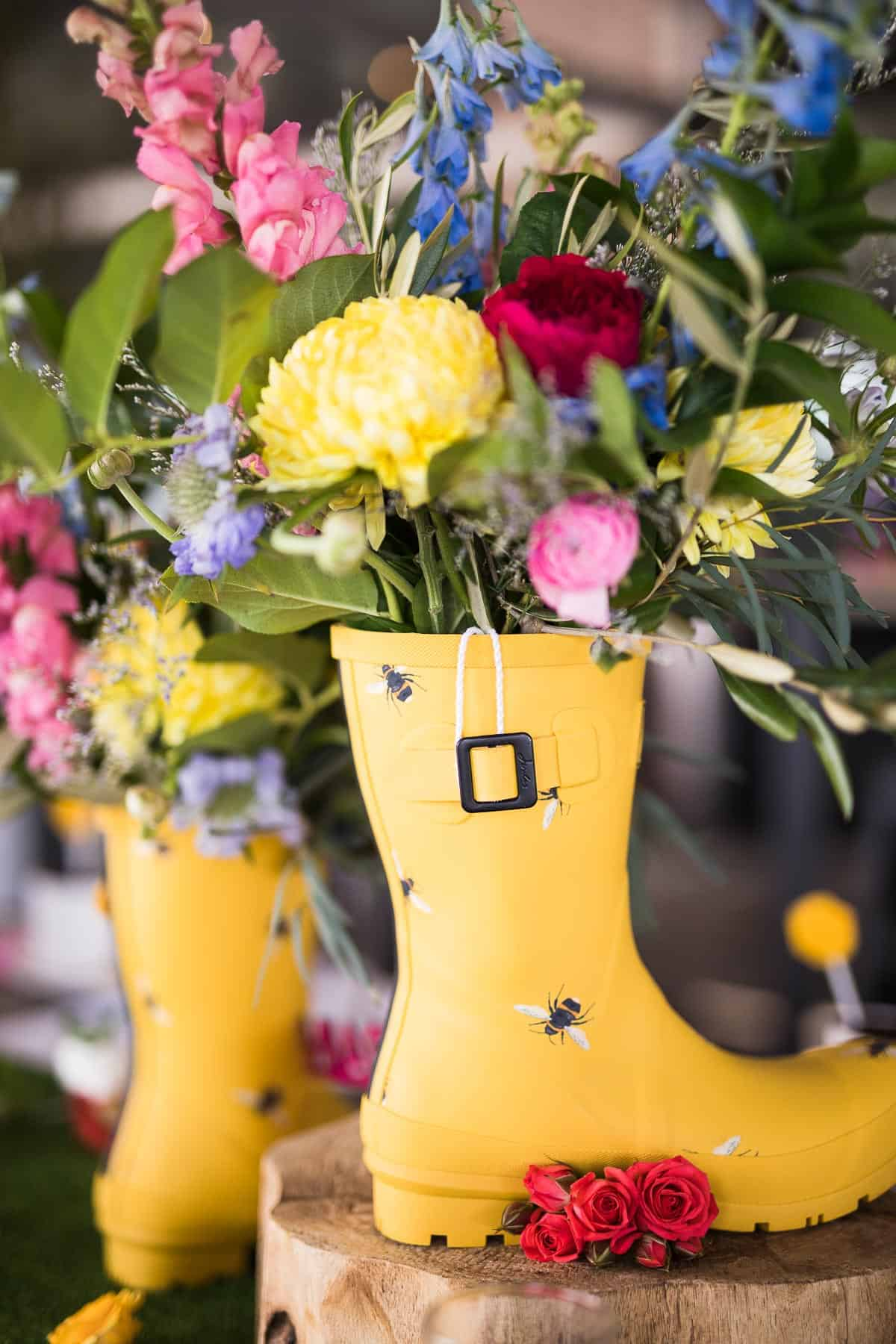 Yellow Rainboots and Flowers