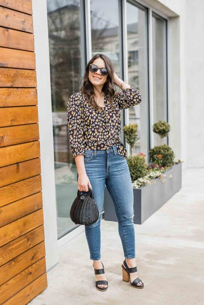 Denim & Floral Print Top