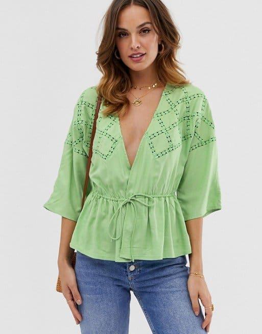 asos wrap lace inset shirt