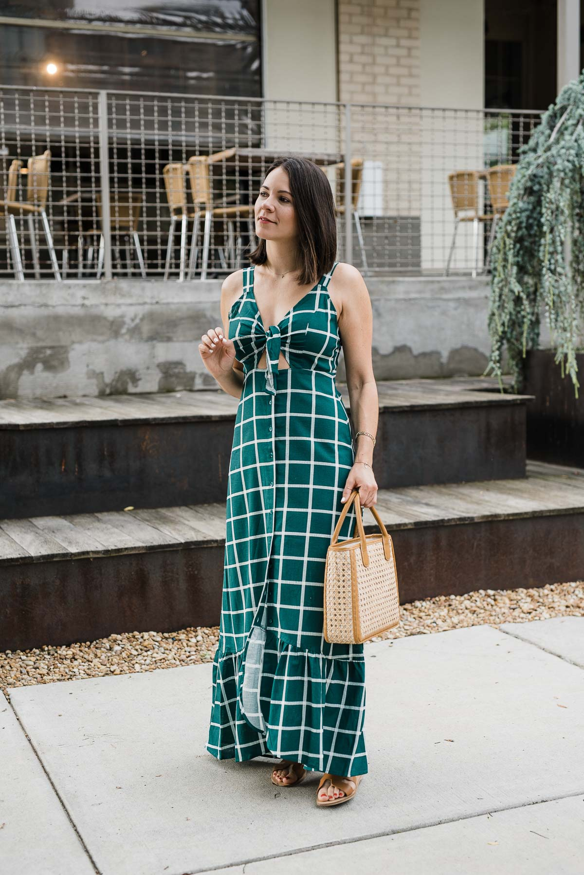 summer outfits, green check print dress