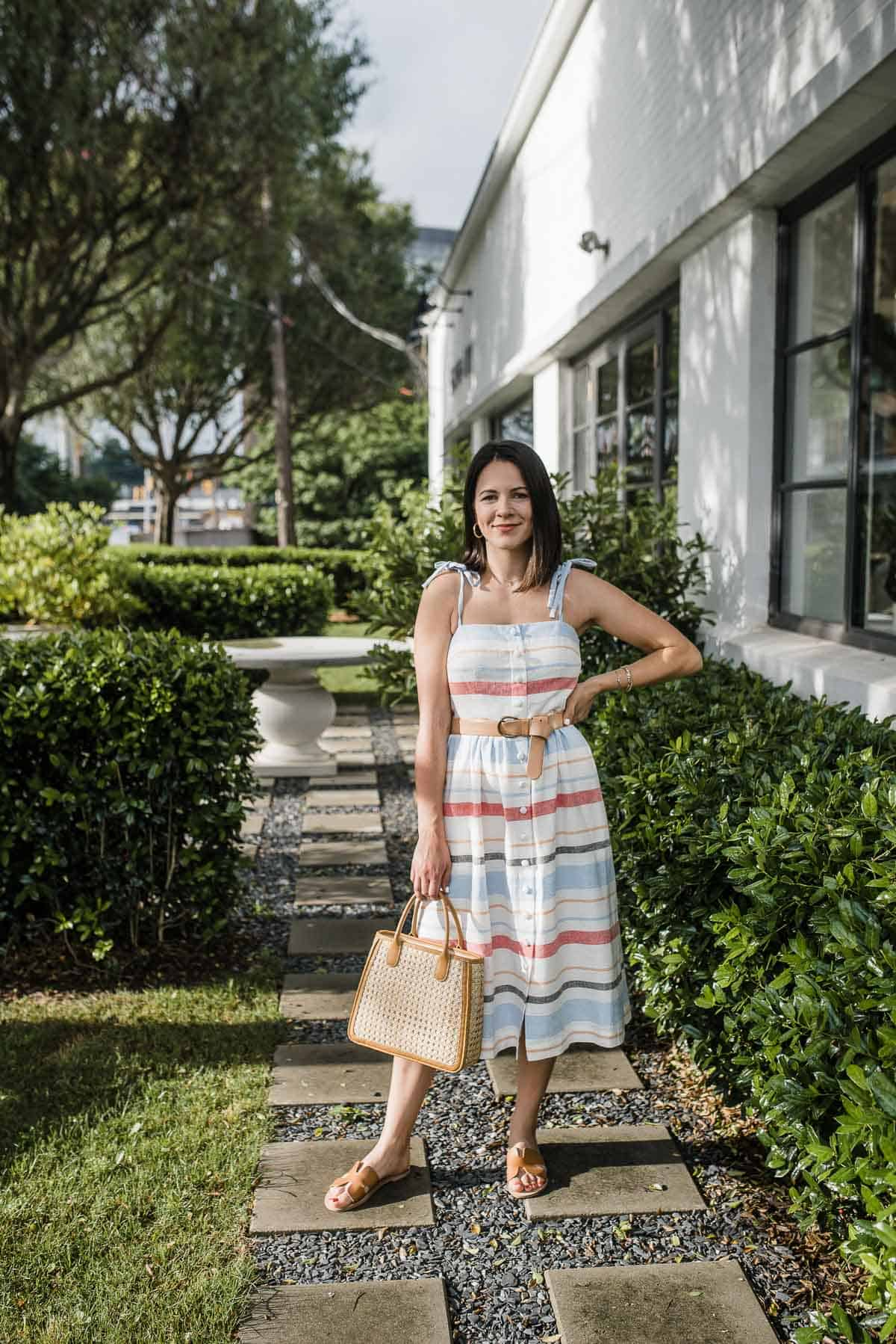 Talbots Bag, Gal Meets Glam Collection Hattie Dress, STEVEN Sandals
