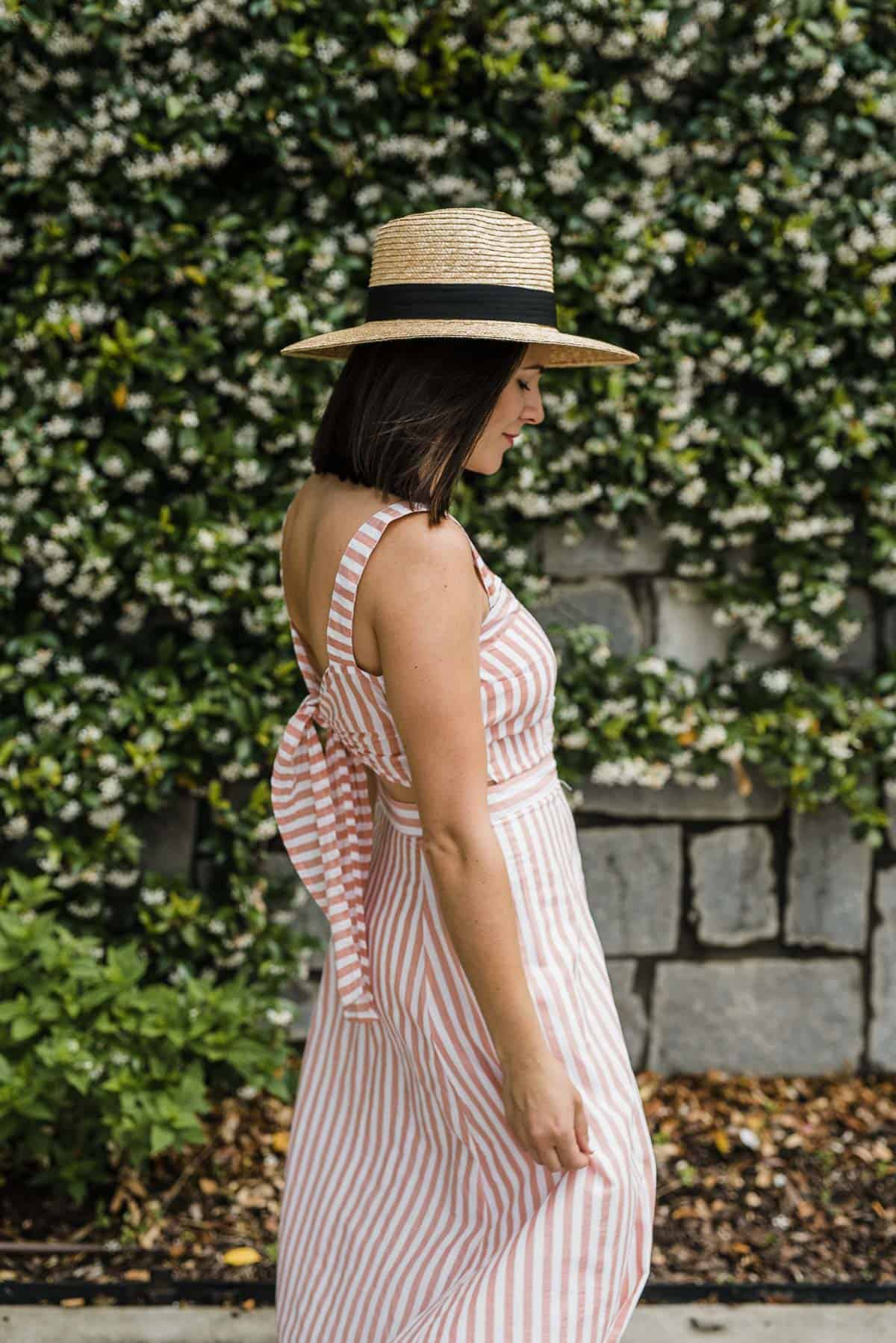 My Style Vita is wearing a Paddo To Palmy  Striped Dress with a hat